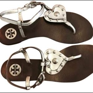 Tory Burch silver heart studded sandals size 7.5